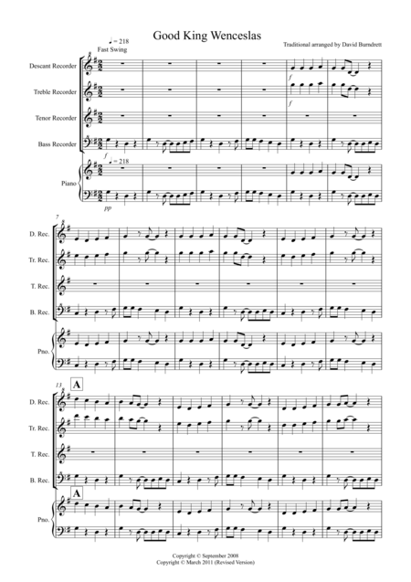 Good King Wenceslas (Jazzy Style!) for Recorder Quartet