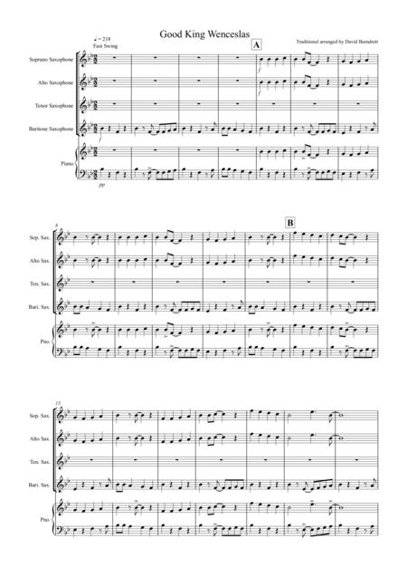Good King Wenceslas (Jazzy Style!) for Saxophone Quartet