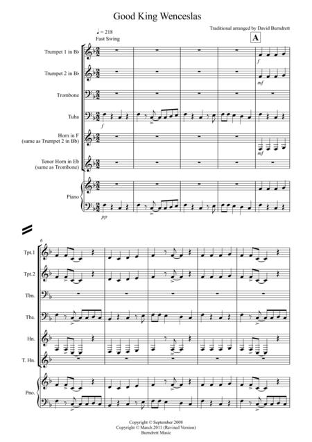 Good King Wenceslas (Jazzy Style!) for Brass Quartet