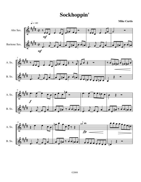Sockhoppin' for Alto and Bari Sax duo or Soprano and Tenor Sax duo