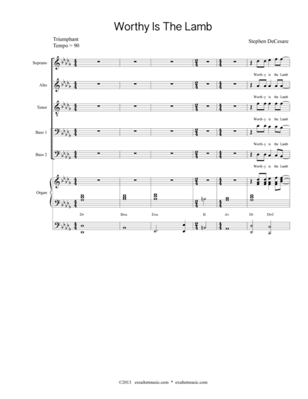 Worthy Is The Lamb (Choral Score)