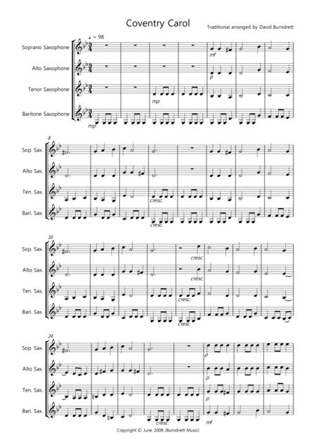 Coventry Carol for Saxophone Quartet