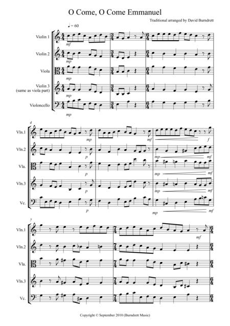 O Come, O Come Emmanuel for String Quartet