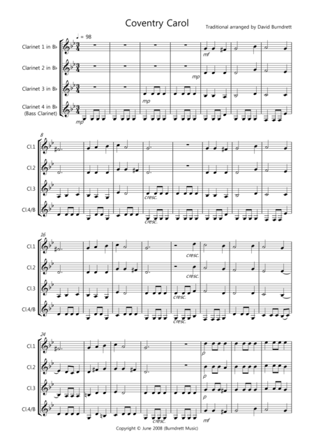 Coventry Carol for Clarinet Quartet