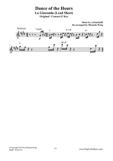 Dance of the Hours - Lead Sheet in Original E Key