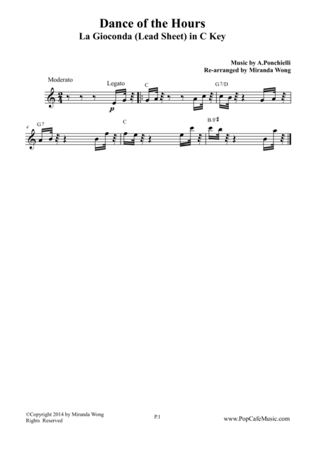 Dance of the Hours - Lead Sheet in C Key