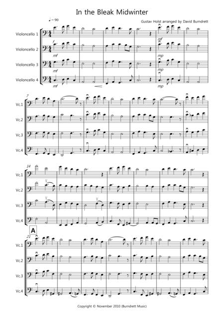 In the Bleak Midwinter for Cello Quartet