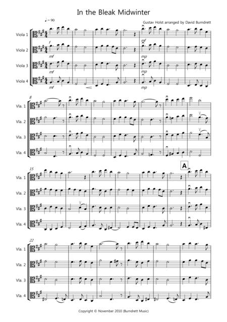 In the Bleak Midwinter for Viola Quartet