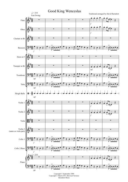 Good King Wenceslas (Jazzy Style!) for School Orchestra