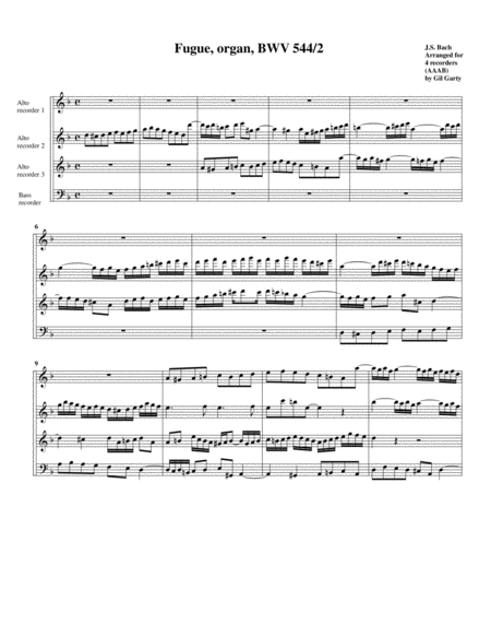 Fugue for organ, BWV 544/II