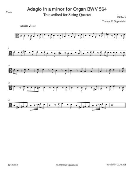Bach: Adagio in a minor BWV 564 arr. for String Quartet