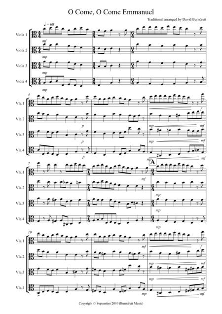 O Come, O Come Emmanuel for Viola Quartet