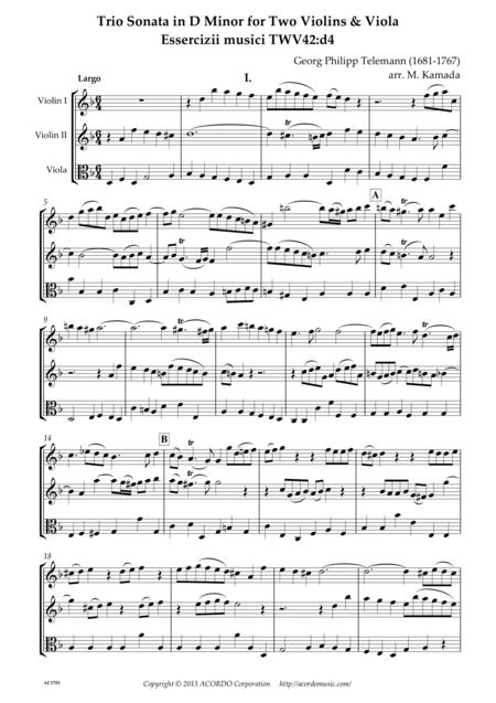 Trio Sonata in D Minor for Two Violins & Viola Essercizii musici TWV42:d4