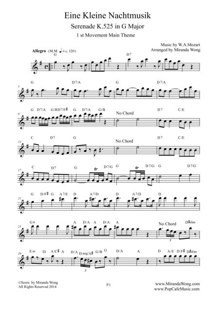 Eine Kleine Nachtmusik (From Serenade K.525) in G - Lead Sheet