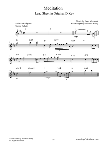 Meditation (from Thais) - Lead Sheet in Original D Key