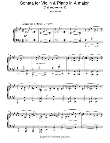 Sonata For Violin & Piano In A Major, 1st Movement