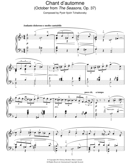 Chant d'automne (October from 'The Seasons' Op. 37)