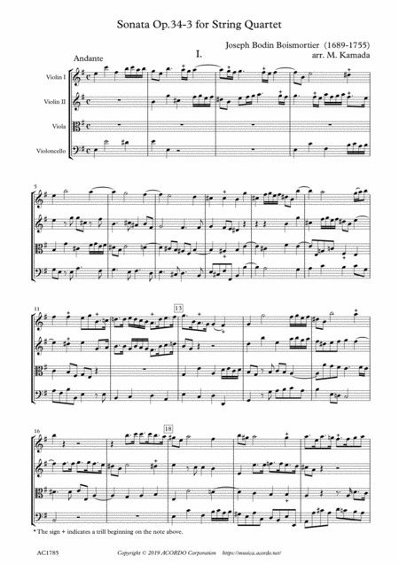 Sonata Op.34-3 for String Quartet