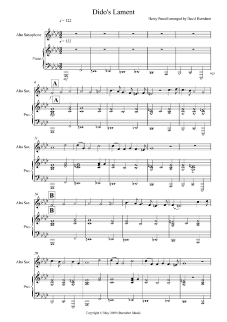 Dido's Lament for Alto Saxophone and Piano