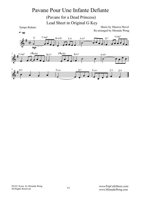 Pavane Pour Une Infante Defunte (Pavanne for a Dead Princess) - Lead Sheet in G Key