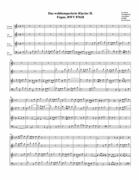 Fugue from Das wohltemperierte Klavier II, BWV 876/II