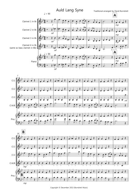Auld Lang Syne for Clarinet Quartet