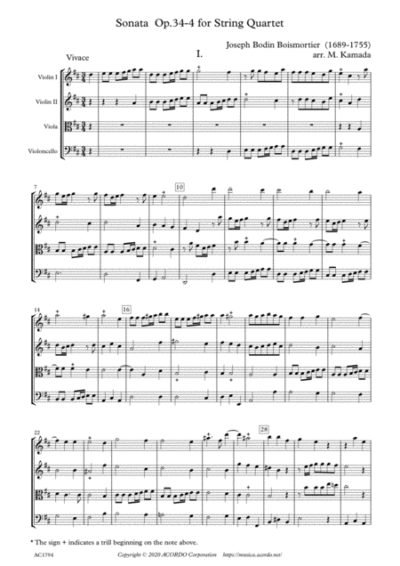 Sonata Op.34-4 for String Quartet