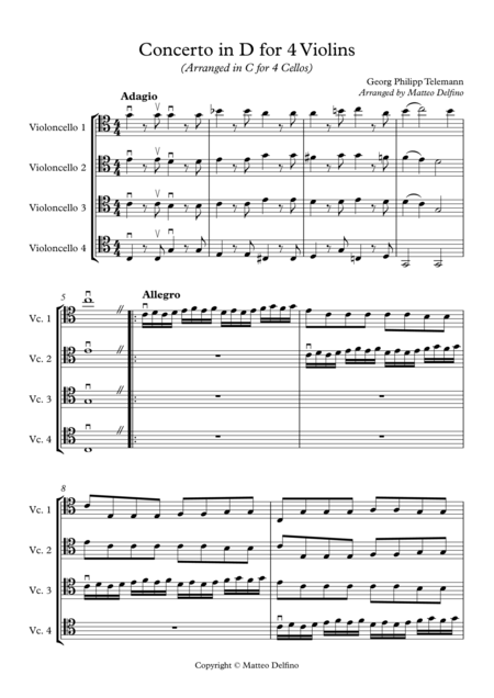 Concerto in D for 4 Violins (Arranged in C for Cello Quartet)