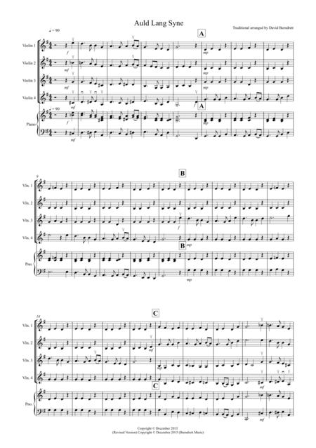 Auld Lang Syne for Violin Quartet