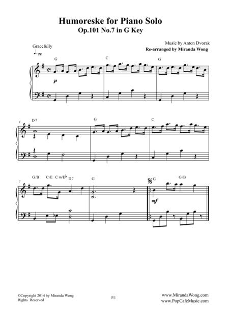 Humoreske Op.101 No.7 - Piano Solo in G Key