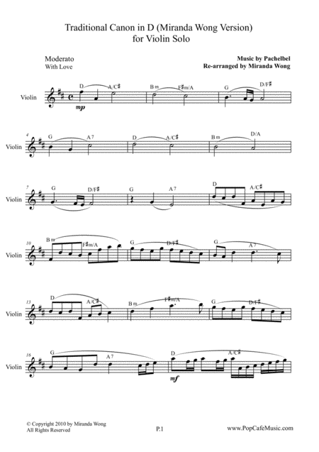 Traditional Canon in D - Violin Solo (Lead Sheet)