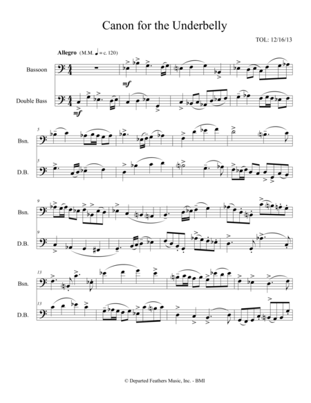 Canon for the Underbelly (2013) for bassoon and double bass