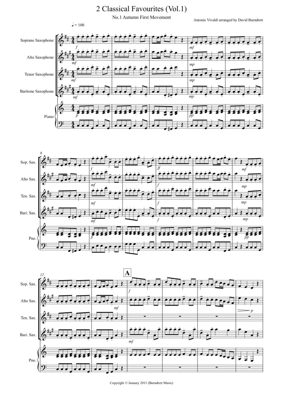 2 Classical Favourites for Saxophone Quartet (volume one)