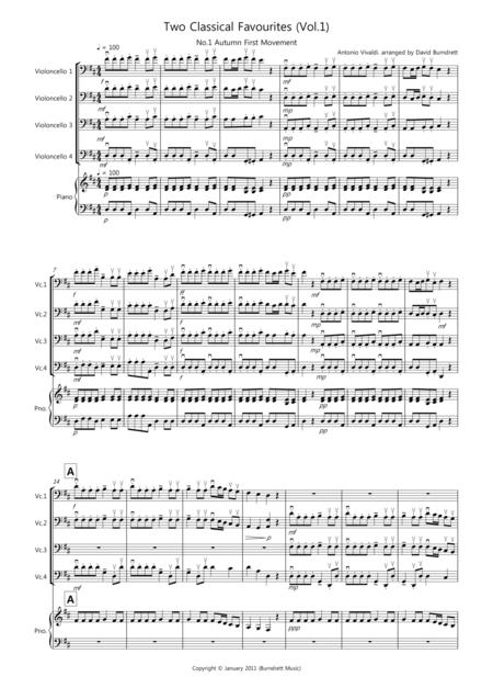 2 Classical Favourites for Cello Quartet (volume one)
