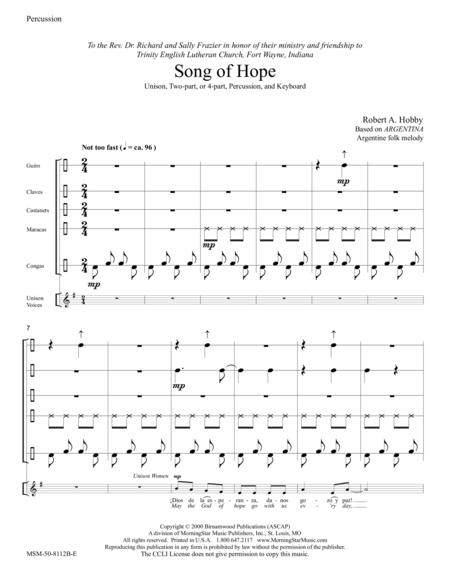 Song of Hope (Instrumental Parts)