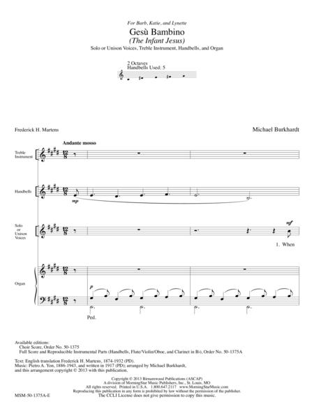 Gesu Bambino - The Infant Jesus (Full Score & Parts)