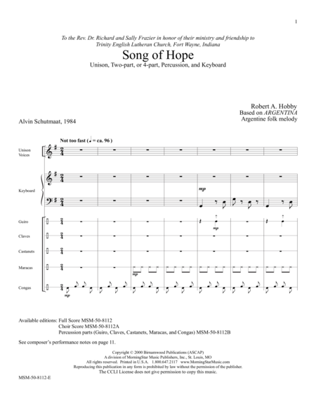 Song of Hope (Full Score)