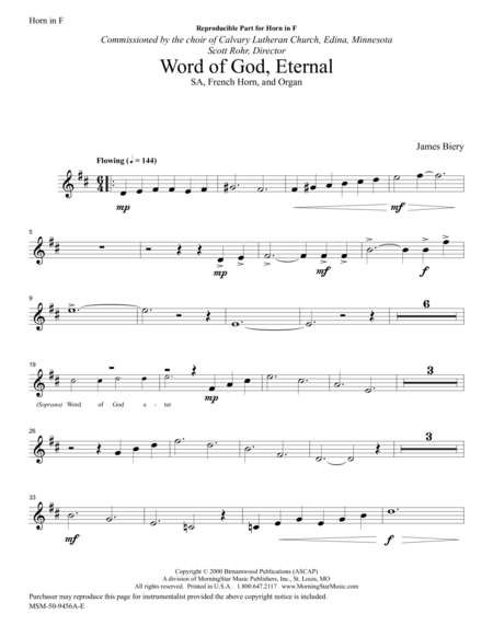 Word of God Eternal (French Horn Part)