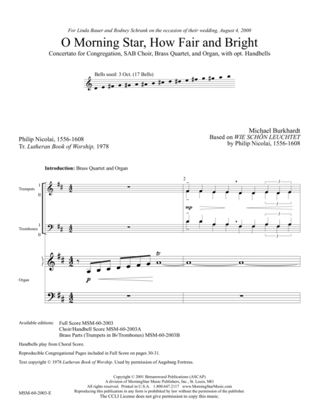 O Morning Star, How Fair and Bright (Full Score)