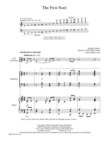 The First Noel from Flexible Hymn Accompaniments for Handbells