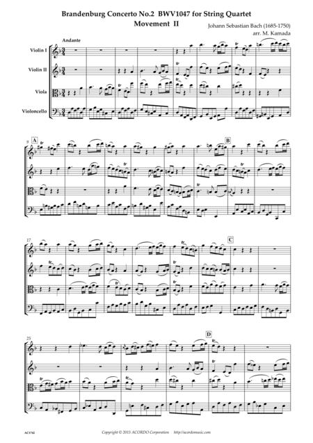 Brandenburg Concerto No.2 BWV1047 Movement II for String Quartet