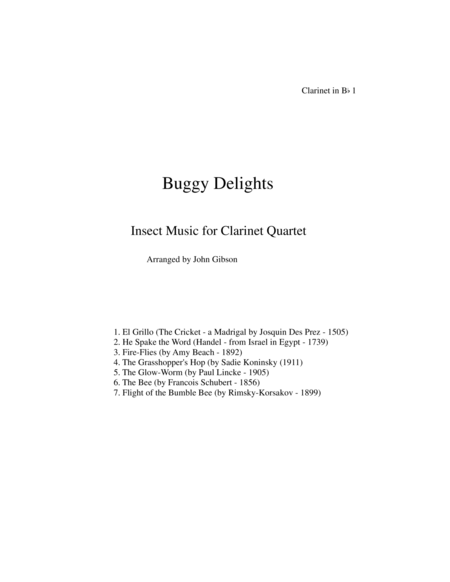 Buggy Delights, Insect Music for Clarinet Quartet