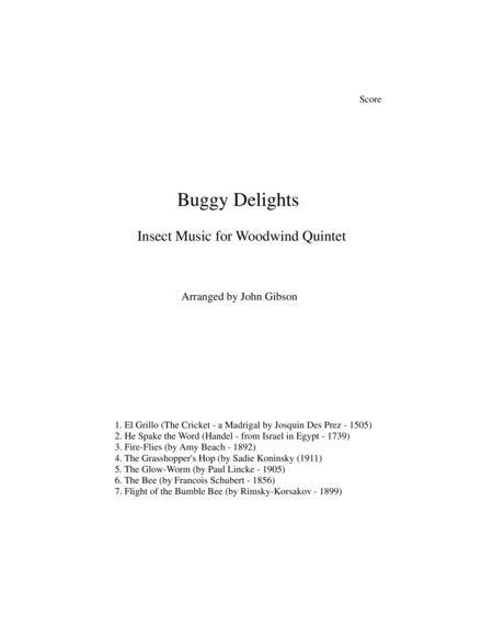 Buggy Delights, Insect Music for Woodwind Quintet SCORE ONLY