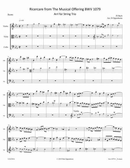 Bach: The Musical Offering (BWV 1079) No. 1 - Ricercare a 3 arr. for String Trio (Violin, Viola and Cello)