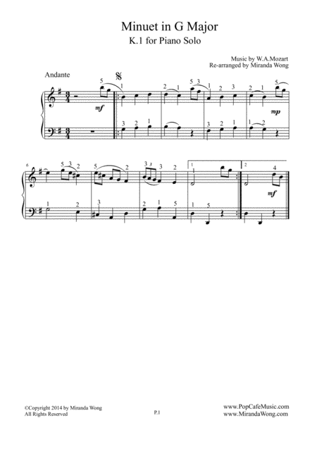 Minuet in G Major K.1 - Piano Solo (With Fingerings)
