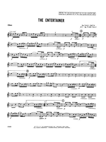 Entertainer, The - Oboe