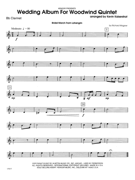 Wedding Album For Woodwind Quintet - Bb Clarinet