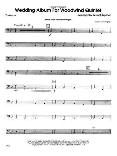 Wedding Album For Woodwind Quintet - Bassoon