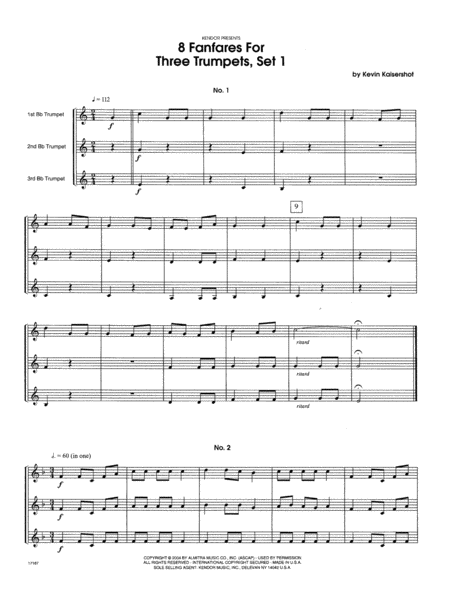 8 Fanfares For Three Trumpets, Set 1 - Full Score