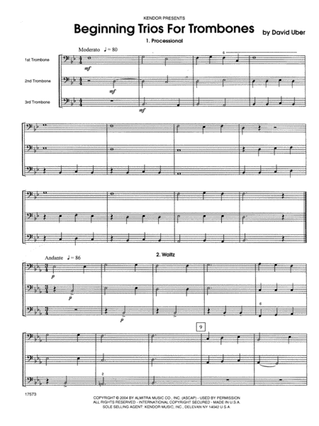 Beginning Trios For Trombones - Full Score
